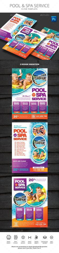 Pool and Spa Service — Photoshop PSD #swimming #test • Available here → https://graphicriver.net/item/pool-and-spa-service/17965757?ref=pxcr
