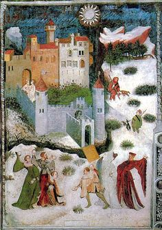 Medieval people actually having a snowball fight. Frescoes in the Torre Aquila: January, 15th century