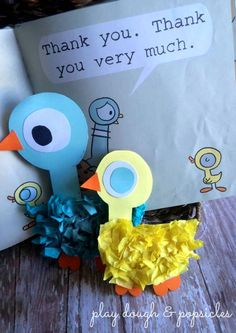 Kids Craft inspired by Mo Willems and Duckling Gets A Cookie?. Pigeon & Duckling were made easily and helped continue the story past reading.