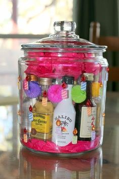 I love the idea of having alcohol is jars. THINK alcohol buffets instead of candy/dessert buffets