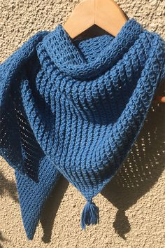 Free Knitting Pattern for Easy 2 Row Repeat Bamboo Stitch Shawl - Triangle shawl knit with 2 row repeat variation of the bamboo stitch with the yarn over in reverse to add a different texture to the stitch. Designed by Virginia Davlin.