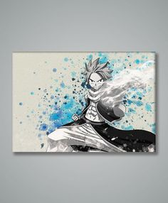 Fairy Tail Natsu Dragneel Watercolor by watercolormagazine on Etsy Fairytail, Zeref, Anime Crafts, Kawaii, Anime Merchandise, Fairy Tail Anime, Otaku, Cool Cats, Watercolor Paintings