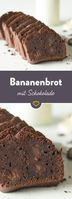 Ein wenig dekadent: Mit diesem Bananenbrot gönnst du dir die doppelte Schokolad… A little decadent: With this banana bread, treat yourself to the double chocolate strain. Chocolate pieces in the already banana-like chocolate sauce. Bolo Vegan, Cake Vegan, Bread Recipes, Baking Recipes, Cookie Recipes, Food Cakes, No Bake Desserts, Dessert Recipes, Snacks Recipes