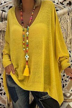 Casual styles 642255596836990996 – V Neck Asymmetric Hem Plain T-Shirts – ebuytide Source by ebuytidecom - Casual styles 642255596836990996 - V Neck Asymmetric Hem Plain T-Shirts – ebu. Boho Fashion Over 40, Winter Fashion Casual, Look Fashion, Womens Fashion, Winter Style, Casual Dresses, Fashion Dresses, Moda Boho, Casual Styles
