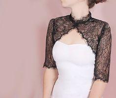 Plus size black lace jacket / wedding bolero/cover up /white /ivory/ black/shrug/wrap/wedding accessories Bridal Bolero, Lace Bolero, Bridal Lace, Wedding Bolero, Wedding Gowns, Bolero Jacket, Jeanne Lanvin, Lace Jacket Wedding, Black Lace Jacket
