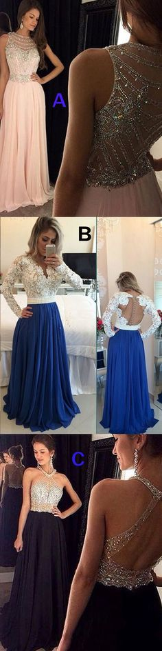 Lace and Chiffon Prom Dress, Long Sleeves Prom