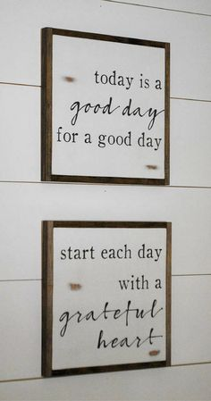 Love these two quotes! Today is a good day for a good day, Start each day with a grateful heart, set of 2 signs || farmhouse decor || distressed rustic wall art, rustic decor, farmhouse sign, rustic sign #ad #CountryBathrooms