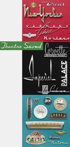 Collectible vintage lettering nameplates Corvette, New Yorker, Theatre Sound, Karmann Ghia, Imperial, LeSabre, Chevrolet, Dodge, Coldspot, Oasis, McIntosh hi-fidelity equipment, Nutone, DeSoto