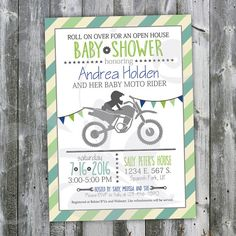 Motocross Baby Shower Open House Invitation-Custom Invite with Blues & Greens, Dirt Bike, Triangle Banner, Stars and Gears (digital) by Corinnerelly Baby Shower Motorcycle, Motorcycle Baby, Baby Bike, Biker Baby, Biker Girl, Dirt Bike Wedding, Dirt Bike Party, Motorcycle Wedding, Baby Shower Niño