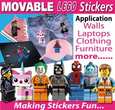 Lego Characters Wall Stickers - Totally Movable, Buy direct from the printers and SAVE!  FREE Gift with every purchase. $1.20 (http://www.wholesaleprinters.com.au/lego-characters-wall-stickers-totally-movable/)