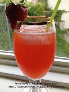 Throwback Thursday - Strawberry Lemonade - Addicted to Recipes Summertime Drinks, Summer Drinks, Cold Drinks, Fun Drinks, Beverages, Homemade Strawberry Lemonade, Strawberry Recipes, Non Alcoholic Drinks, Cocktails