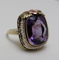 Antique Art Deco 1918 14k Gold Seed Pearl Amethyst Cocktail Ring.