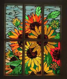 how to make glass mosaic window art Mosaic Flowers, Stained Glass Flowers, Faux Stained Glass, Stained Glass Designs, Stained Glass Panels, Stained Glass Projects, Mosaic Art, Mosaic Glass, Mosaic Windows