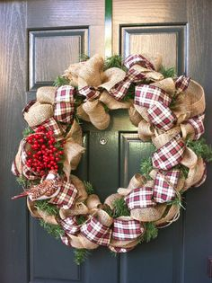 Burlap and Plaid Berry Christmas Wreath
