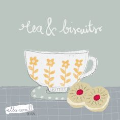 Tea and Biscuits Illustration. Paper Industry, Tea Biscuits, Cherry Fruit, Reference Images, Can Design, Food Illustrations, Business Design, Editorial Design, Workplace