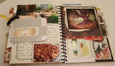 This example is a collage of different postcards. The photographs on these postcards vary from nature to food. With this journal, the design feels much more personal, the postcards/pictures have nothing in common, but also makes the audience feel as if there is more story behind it.