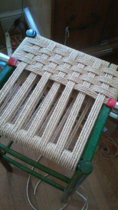 Danish Cord weave, halfway through Chair Makeover, Furniture Makeover, Handmade Furniture, Repurposed Furniture, Furniture Projects, Diy Furniture, Chair Repair, Macrame Chairs, Woven Chair