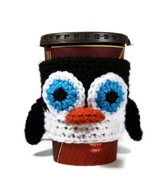 Penguin Cup Cozy Coffee Sleeve by BlackCatStitches on Etsy, $12.00