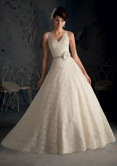 Sweet A-Line Lace Bridal Dress comes a Removable beaded tie sash with flower…