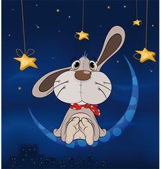 Rabbit on the moon vector