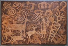 This Native American Petroglyph art work depicts ancient rock carvings of the Southwest. It is painted in oranges, browns, and burnt sienna and has lots of texture on gallery wrapped canvas 36 inches wide by 24 inches height and 1 inch deep. Native Art, Native American Art, Native Symbols, American Indians, Inca, Southwest Art, Indigenous Art, Aboriginal Art, Ancient Artifacts