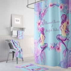 Mermaid Shower Curtain Mermaid Wishes and Starfish by FolkandFunky