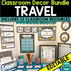 Travel Theme: TRAVEL Theme Decor, Editable Printables, Organizational Tools, Classroom Essentials and More!Includes 34 travel theme products for only 35 cents each! Do you want to create a beautiful, organized travel theme learning environment that will impress students, parents, colleagues and administrators?