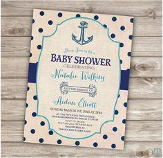 NAUTICAL Baby Shower Invitations Blue Anchor Sail boat Boy Birthday Printable party Navy Aqua Stripes Vintage Burlap Package ahoy its a boy