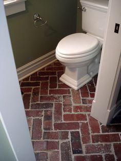 brick flooring in bathroom