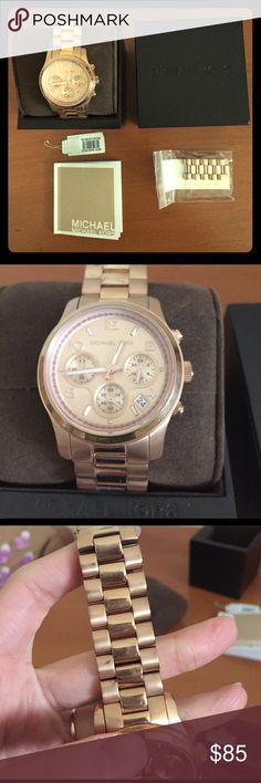 Michael Kors rose gold watch 💕💕 Older model. Will need a new battery. Other than a few scratches on the top band nothing wrong with it. Only wore it a few times. Included will be the rest of the band. I have tiny tiny wrists so wearing this watch was awkward. You will most likely need to put all the links back on 😜 Michael Kors Accessories Watches
