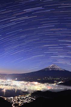 Mt.Fuji bathed in lights, Japan