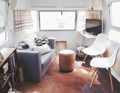 Airstream Renovation Inspiration - Front Galley Living Space