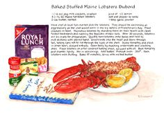 """""""Baked Stuffed Maine Lobsters Dubord - Recipe Painting by Brenda Erickson"""