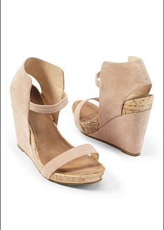 """Covered Ankle Strap Wedge $39  Rise to any occasion in a wedge with extra personality! ·  Full and half sizes: 5.5 - 9, 10   ·  Elastic front ankle strap   ·  5"""" heel with 1"""" platform   ·  Microfiber/polyurethane. Imported"""