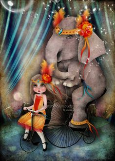 Circus Art Little Girl And Elephant Print A Bicycle by solocosmo