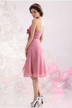 A Line Sweetheart Knee Length Chiffon Pink Bridesmaid Dress COZK13029 #bridesmaiddress #cocomelody