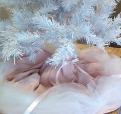 """Custom Order for Grace Hand Painted White Christmas Tree Skirt for 6.5"""" tree with White Tulle  Rhinestones  & White  Satin Ribbon with bow. $145.00, via Etsy."""