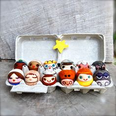 Needle Felted WOOLY Nativity Set Toys Made to Order by asherjasper, $255.00