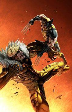 X-Men: Wolverine vs Sabertooth Comic Book Characters, Comic Book Heroes, Marvel Characters, Comic Character, Comic Books Art, Comic Art, Book Art, Comics Anime, Marvel Comics Art