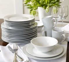 Pottery Barn's Caterer's Box of white porcelain dinnerware is smart and affordable.