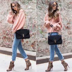 Нам очень понравилось, как Ариэль сумела сочетать вроде бы несочетаемое: лососево-розовый свитер со светло-голубыми джинсами, ботинками с леопардовым принтом и черной сумкой. Приходите к нам в JiST за свитерами в розовых, лососевых, персиковых и прочих актуальных в этом сезоне и таких нежных оттенках. #fashionable #fall #outfitidea: #stylish @somethingnavy looks #chic in #rose #sweater & #blue #jeans #мода #стиль #тренды #джинсы #свитер #ботинки #модно #стильно #осень