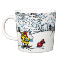 Moomin winter season mug 2016 features Moomintroll, Hemulen, Sorry-oo and the Snowhorse from the book Moominland Midwinter. The design is based on Tove Jansson' Moomin Shop, Moomin Mugs, Christmas Wishlist 2016, Tove Jansson, Cross Stitch Designs, Winter Season, Finland, Horses, Seasons