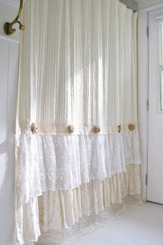 Shabby Cottage Chic Shower Curtain Cream Chenille Lace Ruffle Girls Bohemian Bathroom Gift for Her by FarmHouseFare on Etsy https://www.etsy.com/listing/476068455/shabby-cottage-chic-shower-curtain-cream