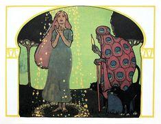 Gebrüder Grimms 'Frau Holle / Mother Hulda', illustrated by Fritz Kunz, a Scholz Künstler-Bilderbuch. Published 1907 by Josef Scholz