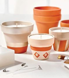 Homemade Candles, Diy Candles, Diy Crafts For Adults, Adult Crafts, Painted Clay Pots, Candles Online, How To Make Clay, Clay Pot Crafts, Diy Craft Projects