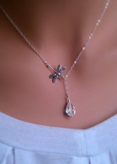 Dragonfly in the rain sterling silver lariat by RoyalGoldGifts, $24.00