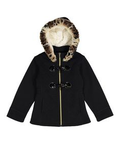 Look what I found on #zulily! Black Quilted Fleece Toggle Jacket - Toddler & Girls #zulilyfinds