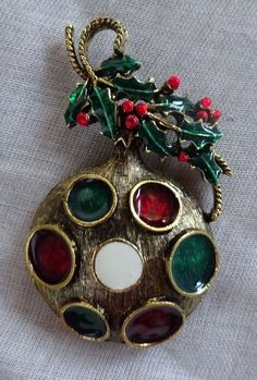 VTG Signed WEISS Christmas Tree Ornament Pin Brooch BOOK PIECE RaRe COLLECTIBLE