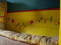 I love yellow and the little red flowers...gypsy vardo at Hartlebury museum #gypsy