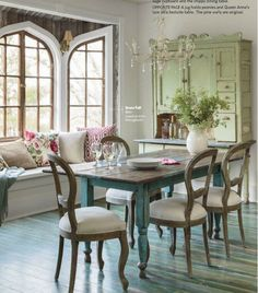 dining room table with window seat